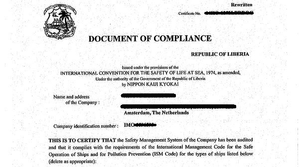 What is DOC or Document Of Compliance ? |