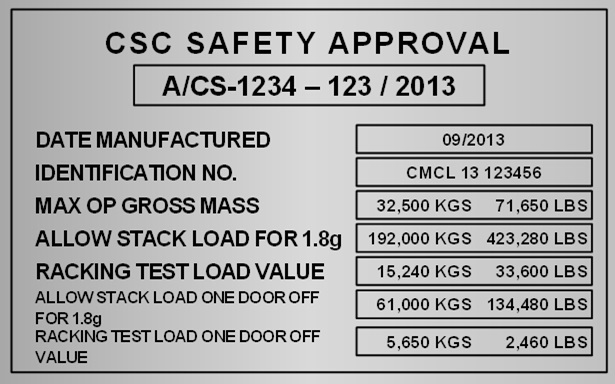 csc plate on container full form